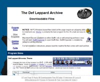 Screenshot of the new look of the Def Leppard Archive